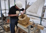 All Saints Church new quatrefoil window being carved.