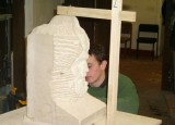 Capesthorne Hall, new bust being carved.