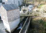 New hydroelectric wheel house and leat to mill.